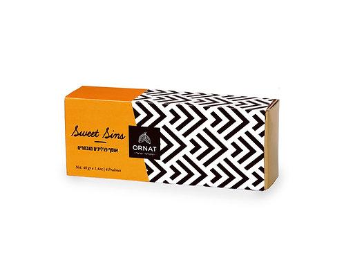 קופסת פרלינים נשלפת בצבעי צהוב שחור ולבן