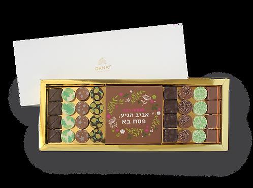 מארז צר וארוך עם תחתית בצבע זהב ומכסה לבן המחולק ל-3 תאים- 16 פרלינים, לוחית  מרובעת משוקולד עם הדפס לחג ו16 פרלינים נוספים