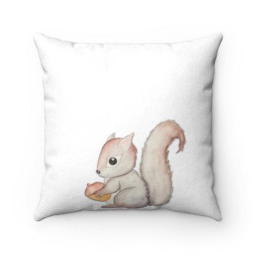 Squirrel Faux Suede Square Pillow