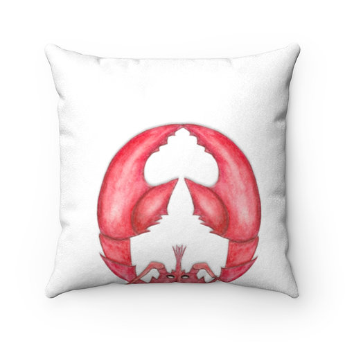 Lobster Faux Suede Square Pillow