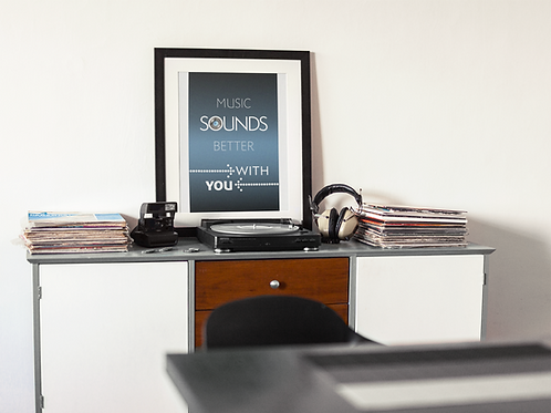 Music Sounds Better With You Print- Blue