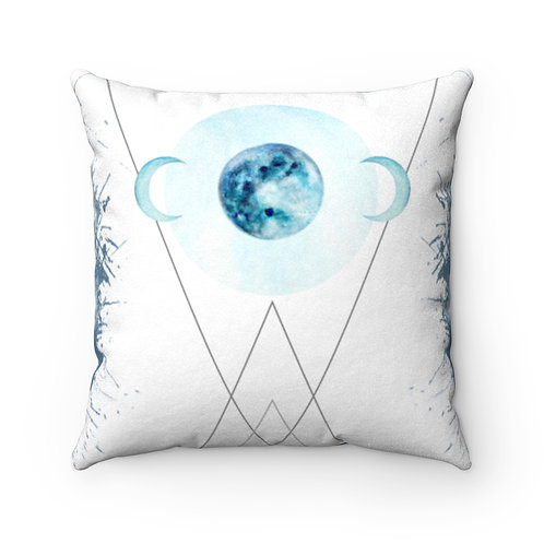 Moon Phase Faux Suede Square Pillow