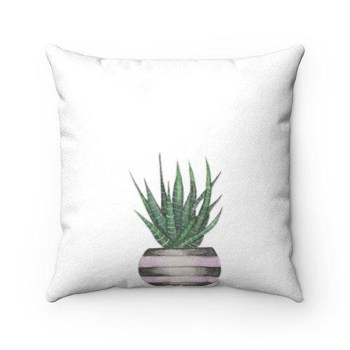 Succulent Faux Suede Square Pillow
