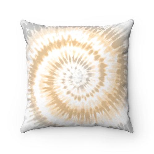 2 Dye 4- Gray and Tan Twirl Square Pillow Case