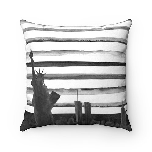 NYC Skyline Black & White Faux Suede Square Pillow
