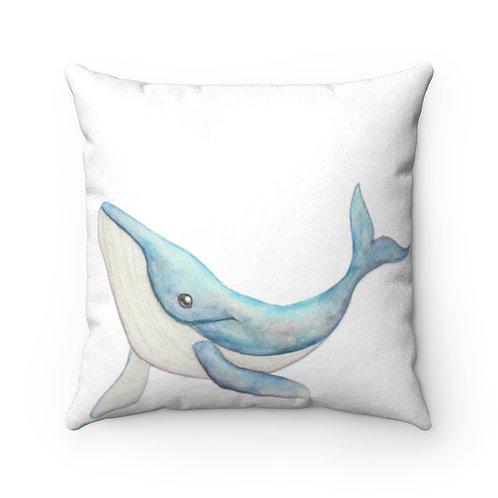 Humpback Whale Faux Suede Square Pillow