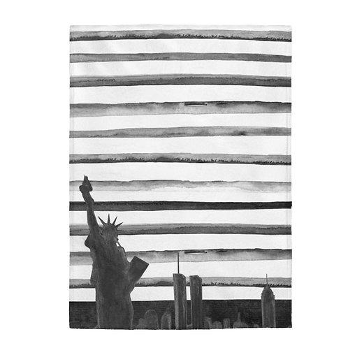 NYC Skyline- Black and White Plush Blanket