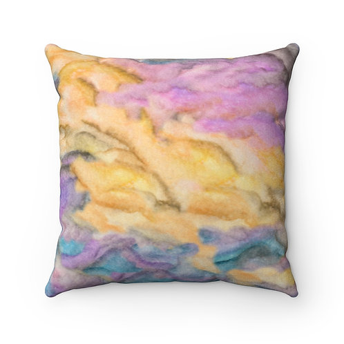 Sunset Sky Faux Suede Square Pillow
