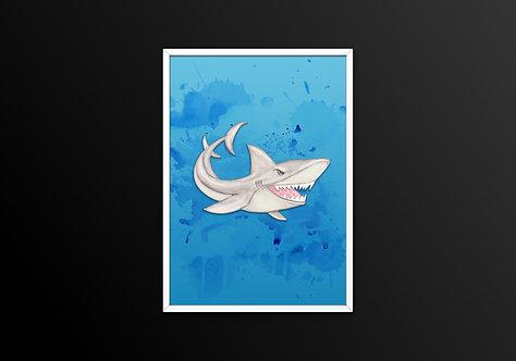 Great White Shark on Blue Print