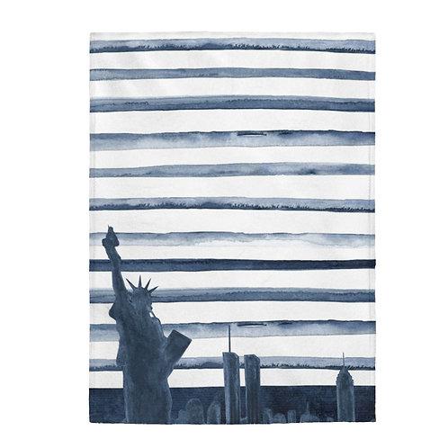 NYC Skyline- Navy Plush Blanket