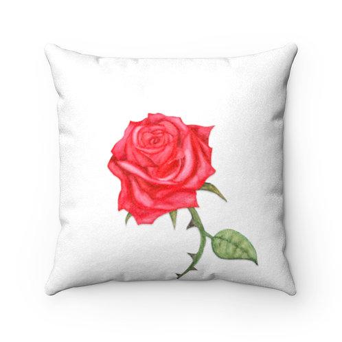 Rose Faux Suede Square Pillow