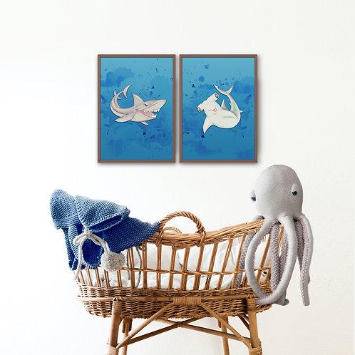 Hammerhead Shark on Blue Print
