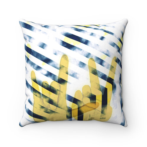 Love and Peace- Yellow Square Pillow Case