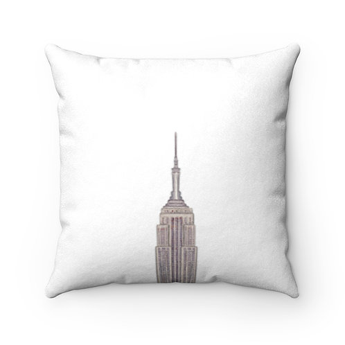 Empire State Building Faux Suede Square Pillow