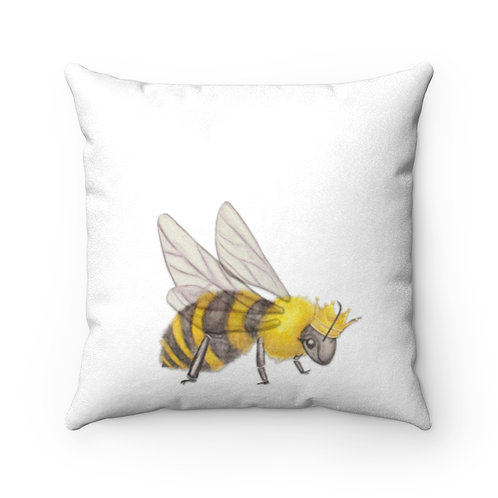 Queen Bee Faux Suede Square Pillow