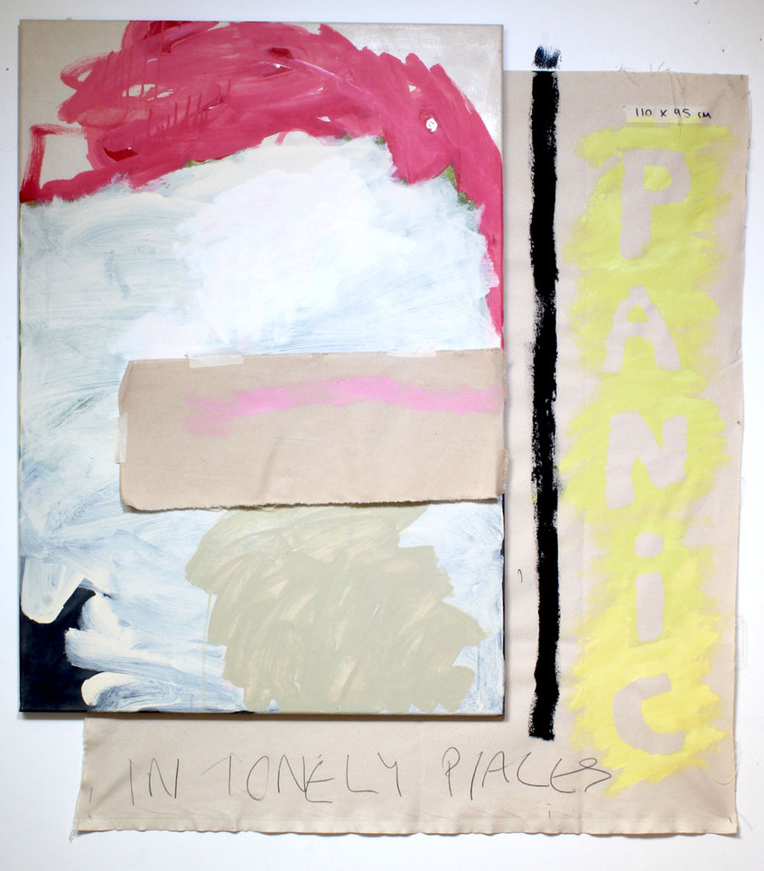 Panic in lonely places, acrylic, pencil and masking tape on canvas on raw canvas, 115cm by 110cm