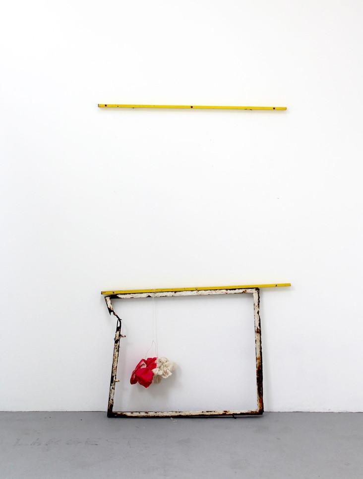 Cloud, steel frame, muslin, acrylic and cotton thread