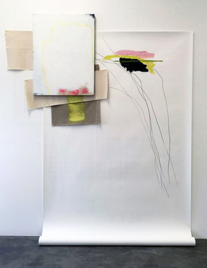 Buff, acrylic, pencil, oil bar, raw linnen, and raw canvas on canvas on fabriano paper with roll, 150cm by 200cm