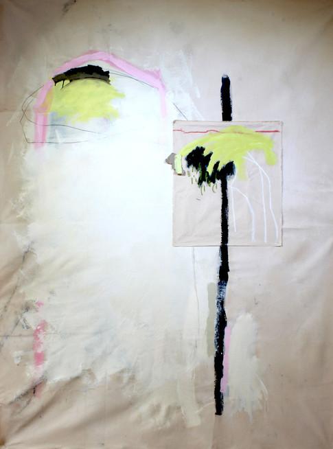 Emilys bird, acrylic on semi raw canvas, 180cm by 140cm