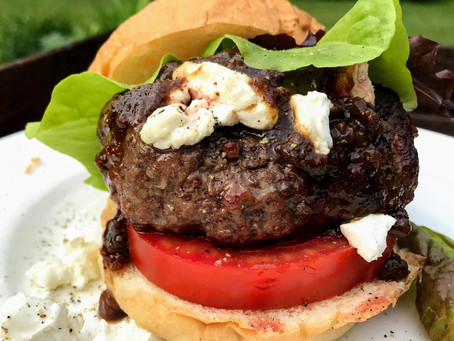 Burgers with Port, Fig Chutney and Goat Cheese
