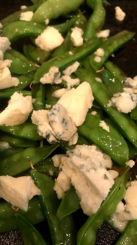 Snow Peas and Blue Cheese