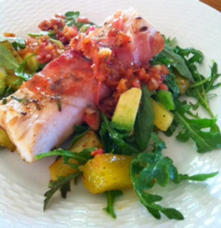 Broiled Pineapple, Avocado and Arugula Salad with Prosciutto Wrapped Mahi-Mahi