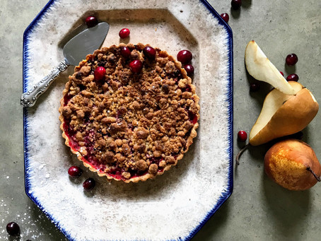 Pear Cranberry and Ginger Crumble Pie