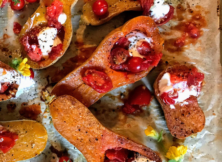 Roasted Butternut Squash with Cumin Tomatoes
