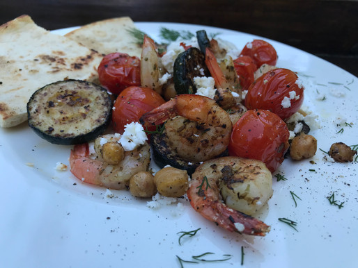 Grilled Shrimp, Cherry Tomatoes, Zucchini, Chickpeas and Feta