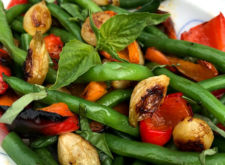 Green Beans with Roasted Red Peppers and Pearl Onions