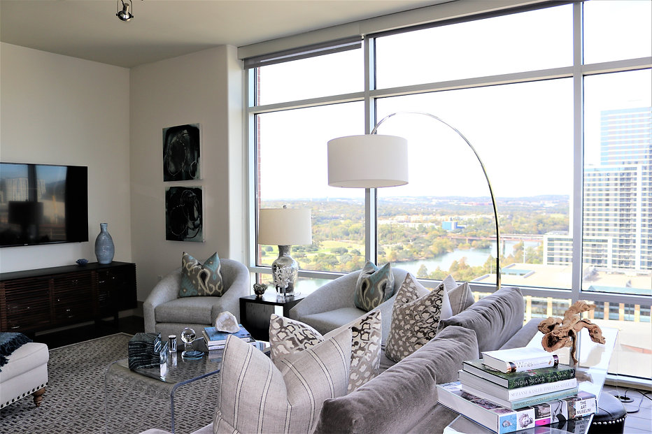 Modern luxury highrise living room by Austin based by Cinda Brown Interiors.
