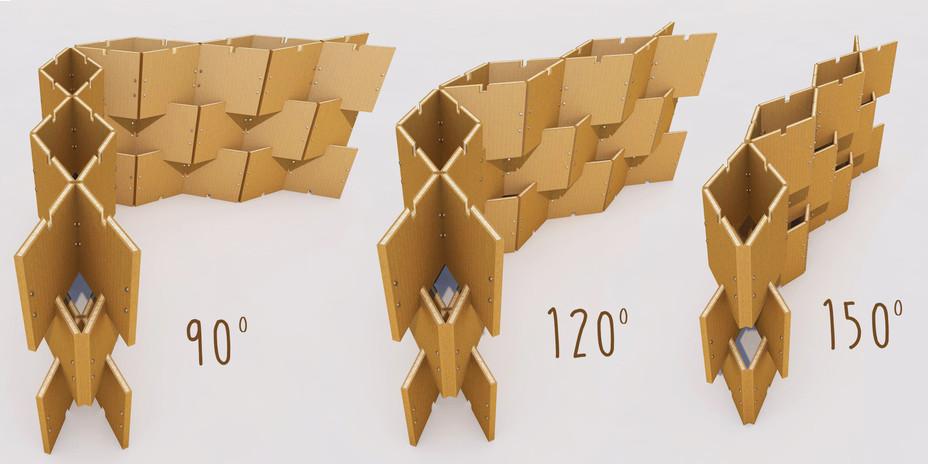 Tramite l'utilizzo di moduli progettati appsitamente, è possibile innestare le parete ai vari anogli.