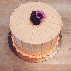 fruit party cake with edible flowers