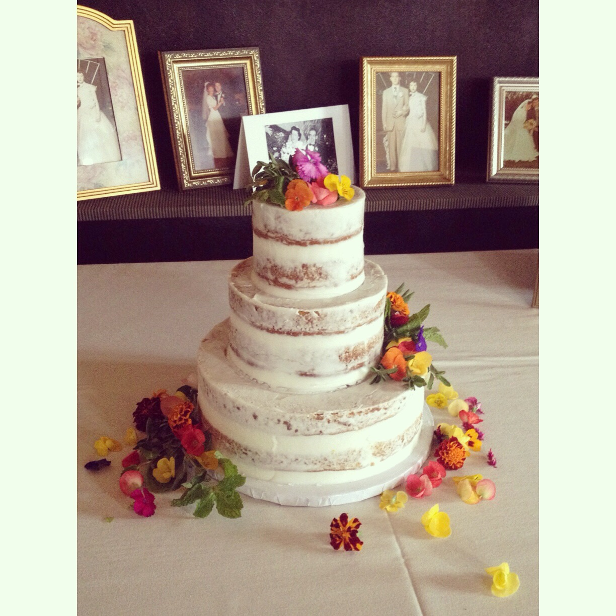 naked cake with edible live flowers