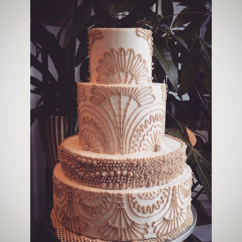 champagne modern deco wedding cake cincinnati