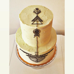 mod geo yellow navy wedding cake