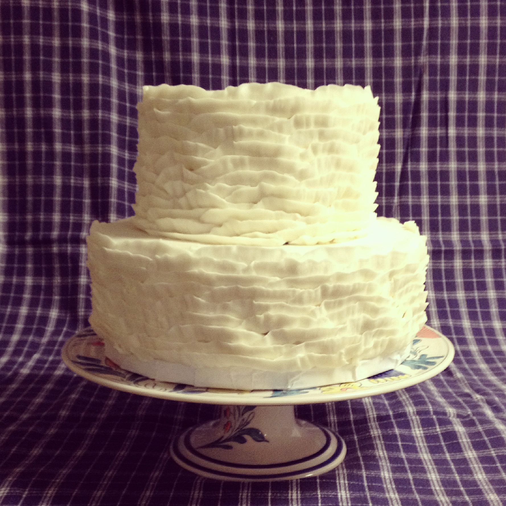 white buttercream ruffle wedding cake cincinnati