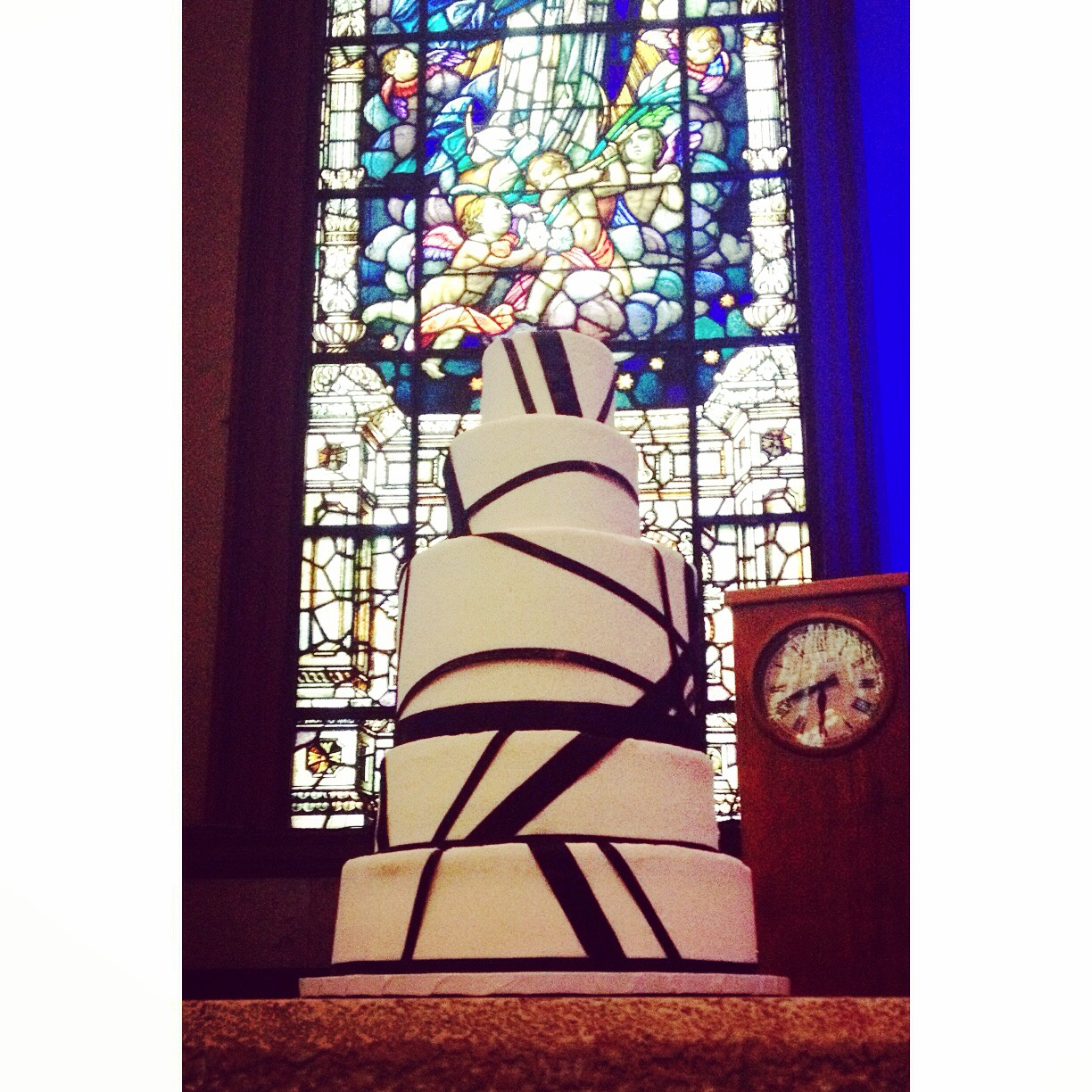 black ribbon cake modern wedding cincinnati