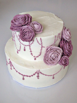 purple roses and beading wedding cake cincinnati