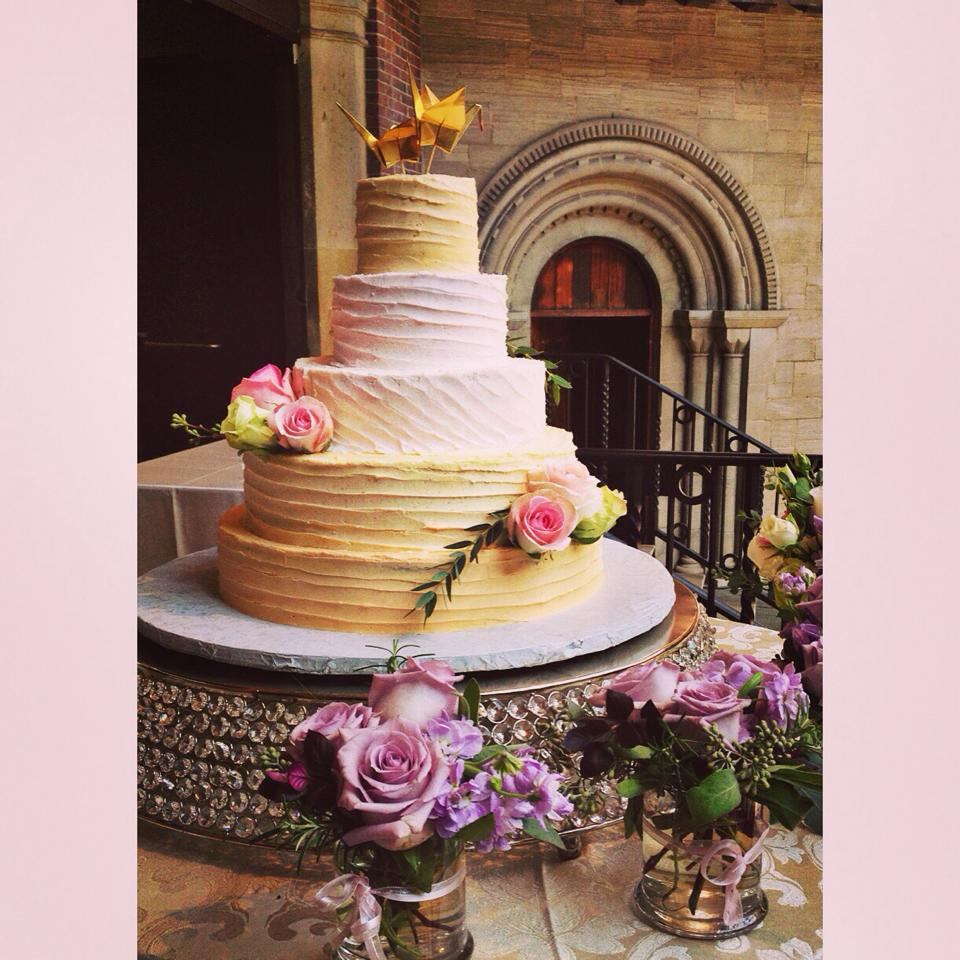 pink and peach wedding cake cincinnati dayton
