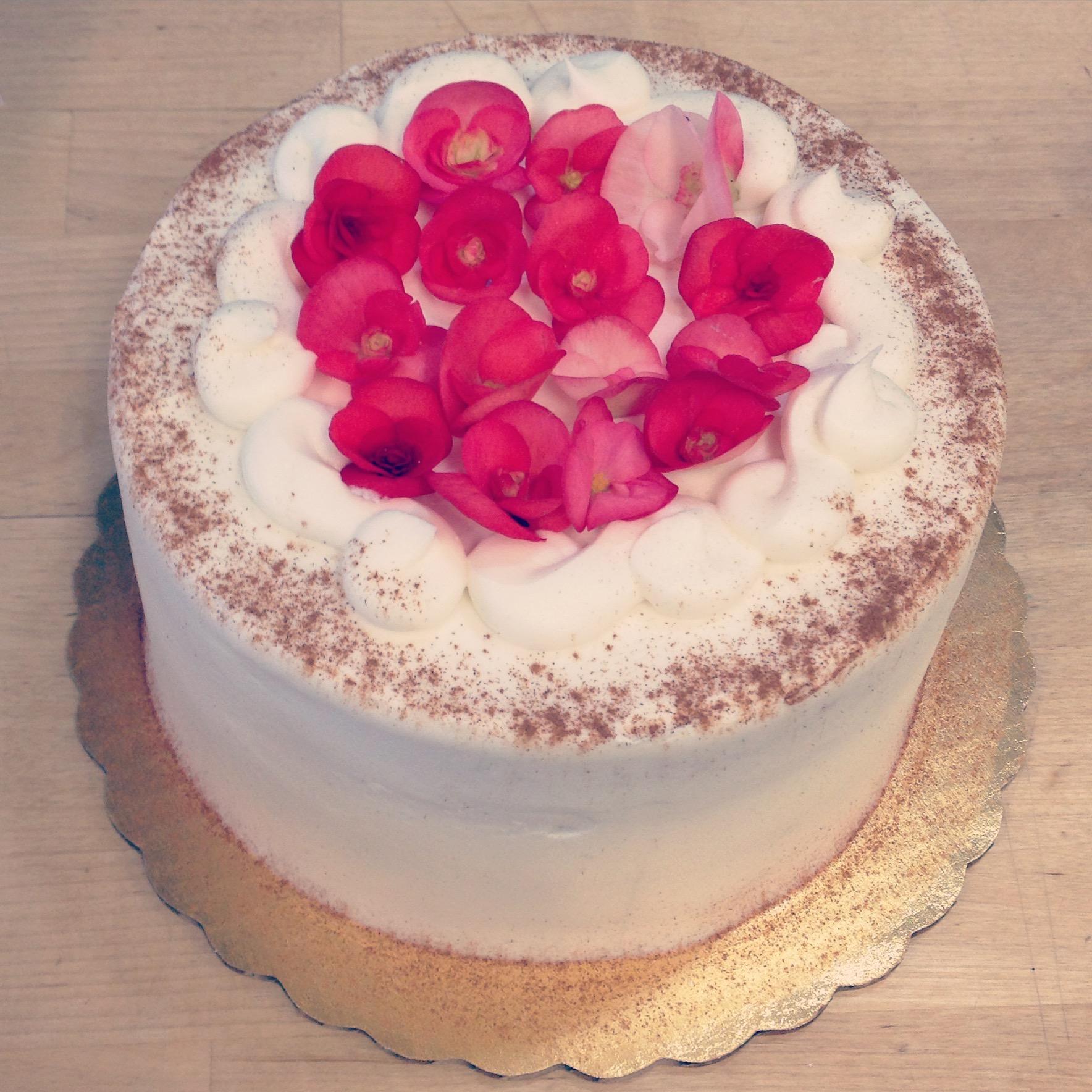 tiramisu cake with live begonias