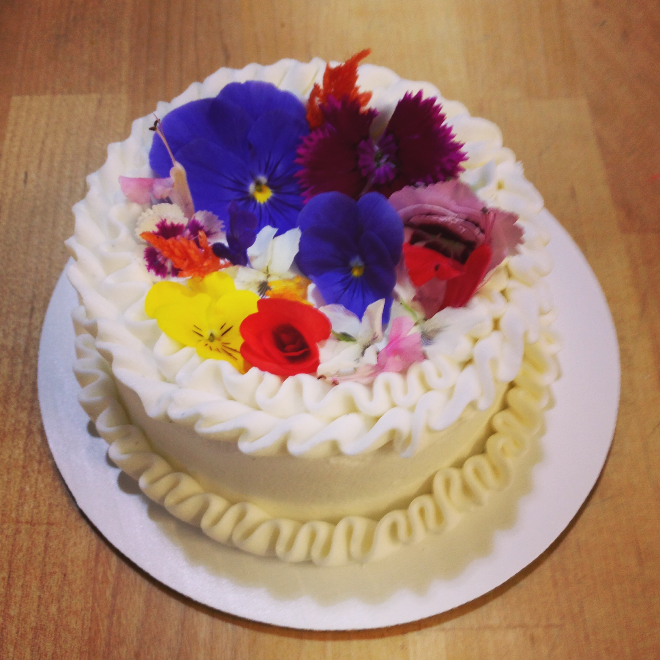 edible flower topped cake