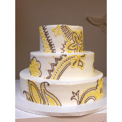 yellow grey henna wedding cake