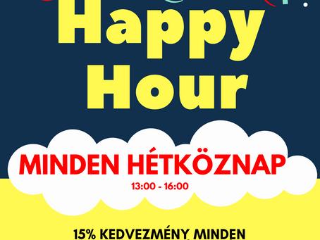 Happy Hour minden hétköznap 13 és 16 óra között