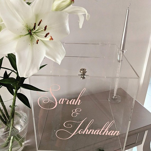 Lock & Key Large Acrylic Modern Wedding Card Post Box