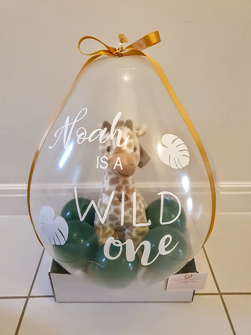 Wild One Luxe giraffe Hamper Gift Balloon