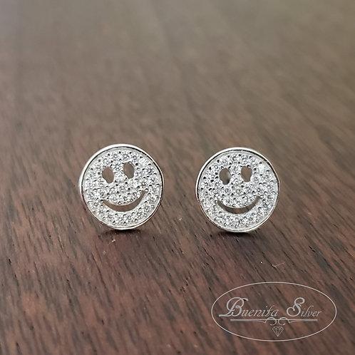 925 Sterling Silver Happy Face Stud Earrings