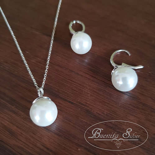 Sterling Silver Faux Pearl Earrings and Necklace Set