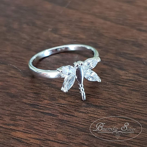 Sterling Silver CZ Dragonfly Ring