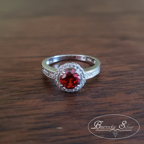 Sterling Silver CZ Simulated Ruby Halo Ring
